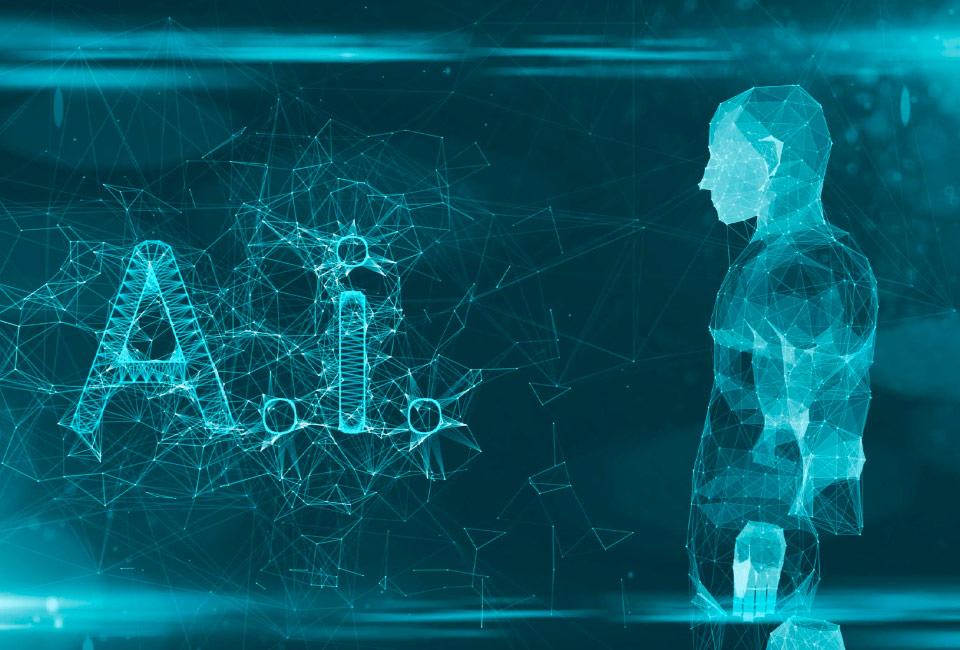 Representação digital com vetores compondo as letras AI e a figura de um ser humano