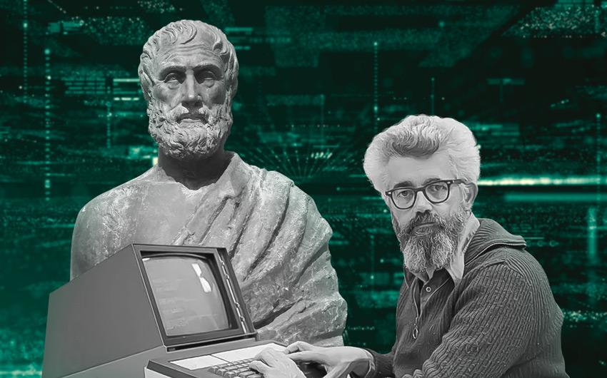 Imagem digital exibindo o professor John McCarthy utilizando um computador, com uma estátua de Aristóteles em segundo plano.