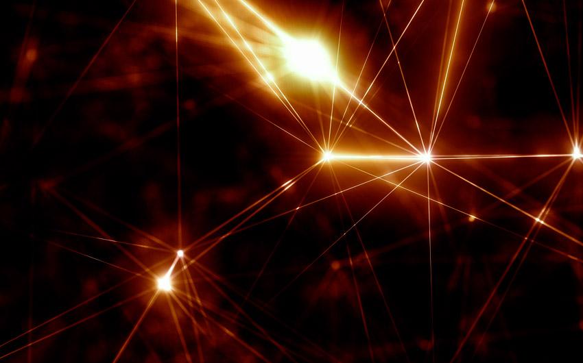 Uma imagem representando conexões de dados sob a forma de feixes de luz em movimento