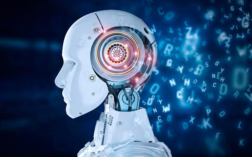 Imagem de um robô com letras luminosas flutuando na cena